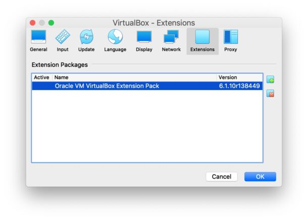 Installed VirtualBox Extension Pack