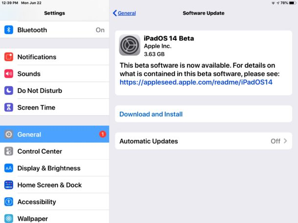 iPadOS 14 beta download