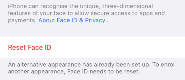 Tap Reset Face ID