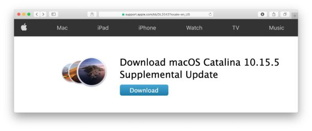 MacOS 10.15.5 supplemental update