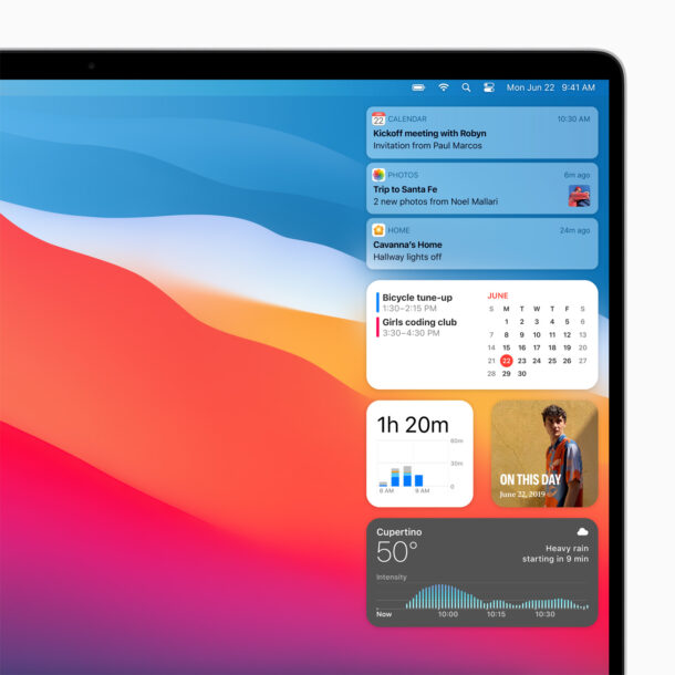 MacOS Big Sur UI Notificaiton Center