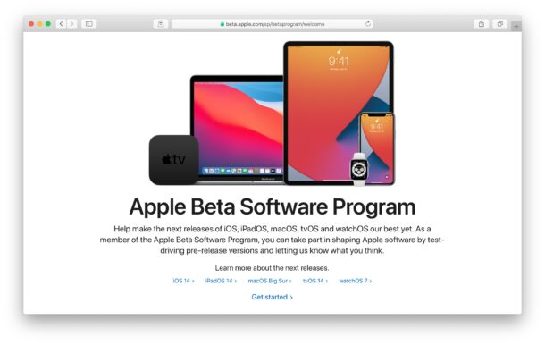 Apple public beta enrollment site