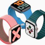 Apple Watches with Podcasts and Music icons