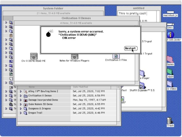 Mac OS 8.1 system crash screenshot error occurred