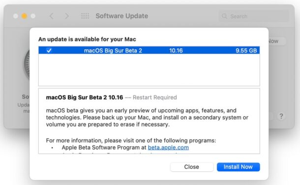 macOS Big Sur beta updates