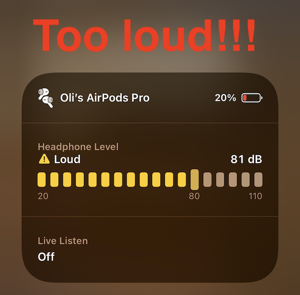 iOS 14 headphone volume check