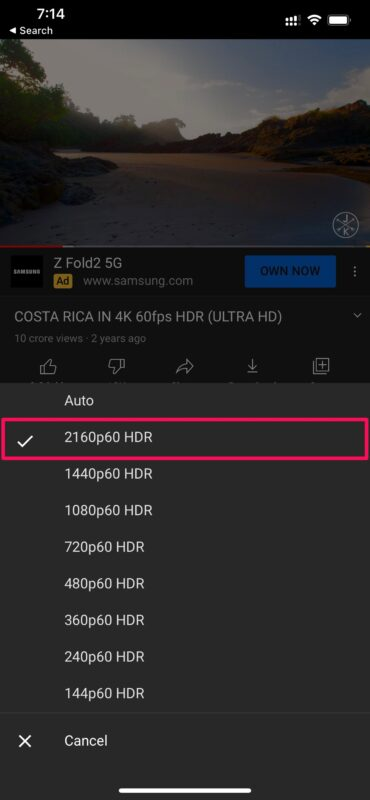 How to Watch 4k YouTube Videos on iPhone & iPad