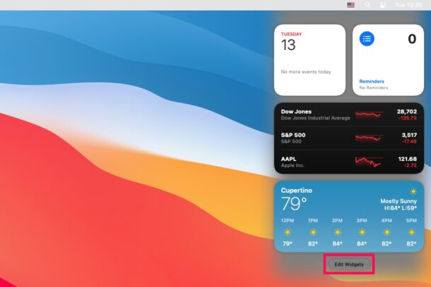 How to Customize Widgets in Notification Center on MacOS Big Sur