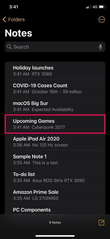 How to Pin a Note to the Top of Notes List on iPhone & iPad