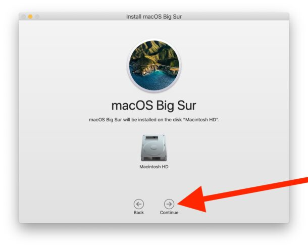 Choose the destination drive and install macOS Big Sur