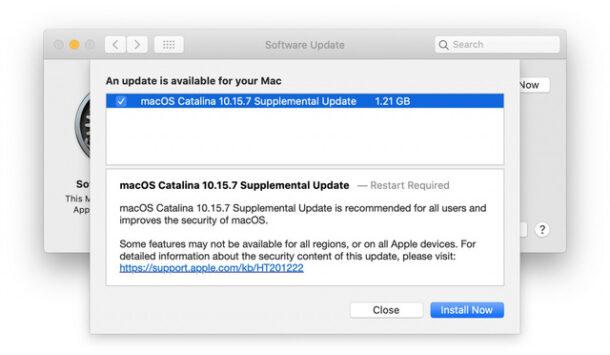 MacOS Catalina 10.15.7 supplemental update