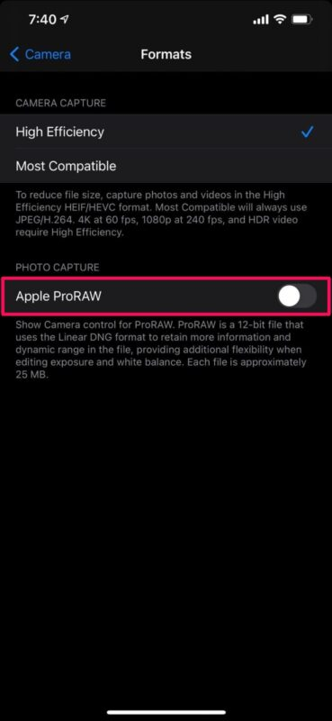 How to Enable Apple ProRAW on iPhone 12 Pro & iPhone 12 Pro Max