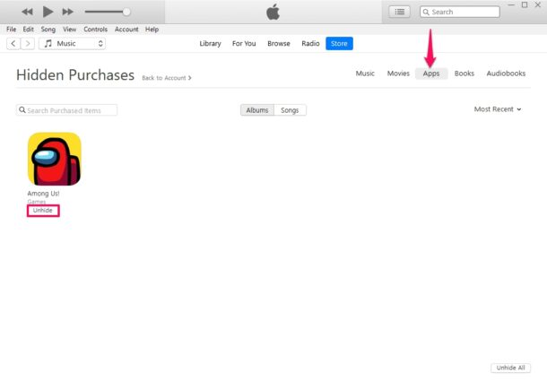 How to Unhide Purchases Using iTunes on PC