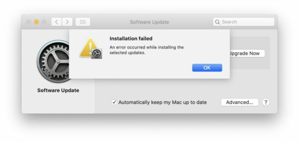 macOS Installation Failed error occurred installing selected updates