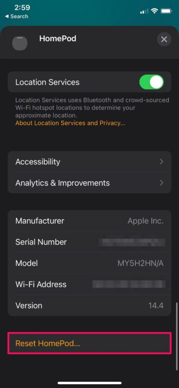 How to Reset HomePod