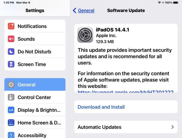 iOS 14.4.1 and iPadOS 14.4.1