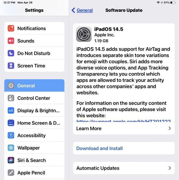 iPadOS 14.5