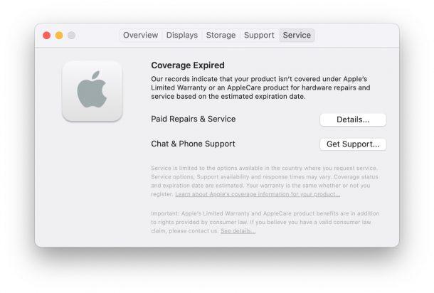 Warranty Expired Mac coverage status