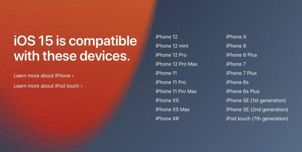 iOS 15 supported iPhone list