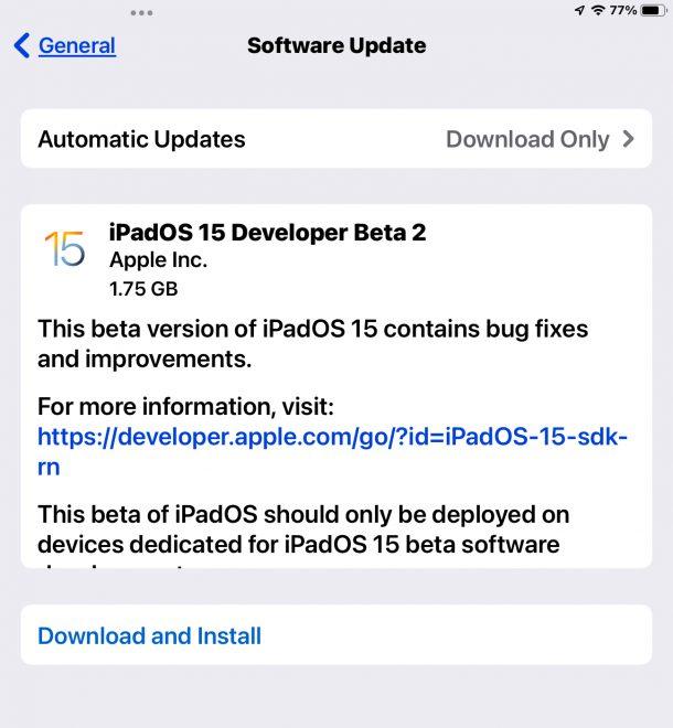 iPadOS 15 beta 2