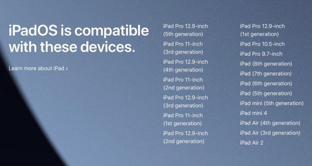 ipadOS 15 compatible iPad list