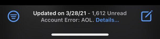 AOL email account error