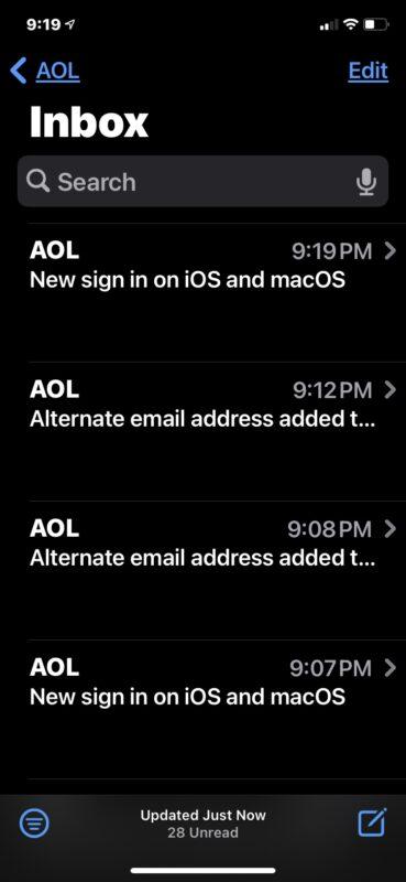 AOL mail working fine again