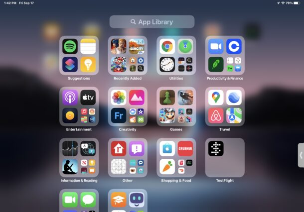 App Library on iPadOS