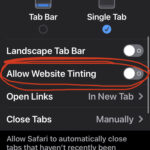 Disable Safari tinting color effect on iPhone and iPad