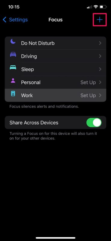 Scheduling Focus mode on an iPhone