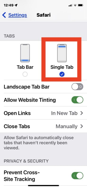 Move the Safari address bar to top of screen from the bottom in iOS 15