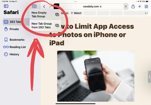 Safari new tab groups